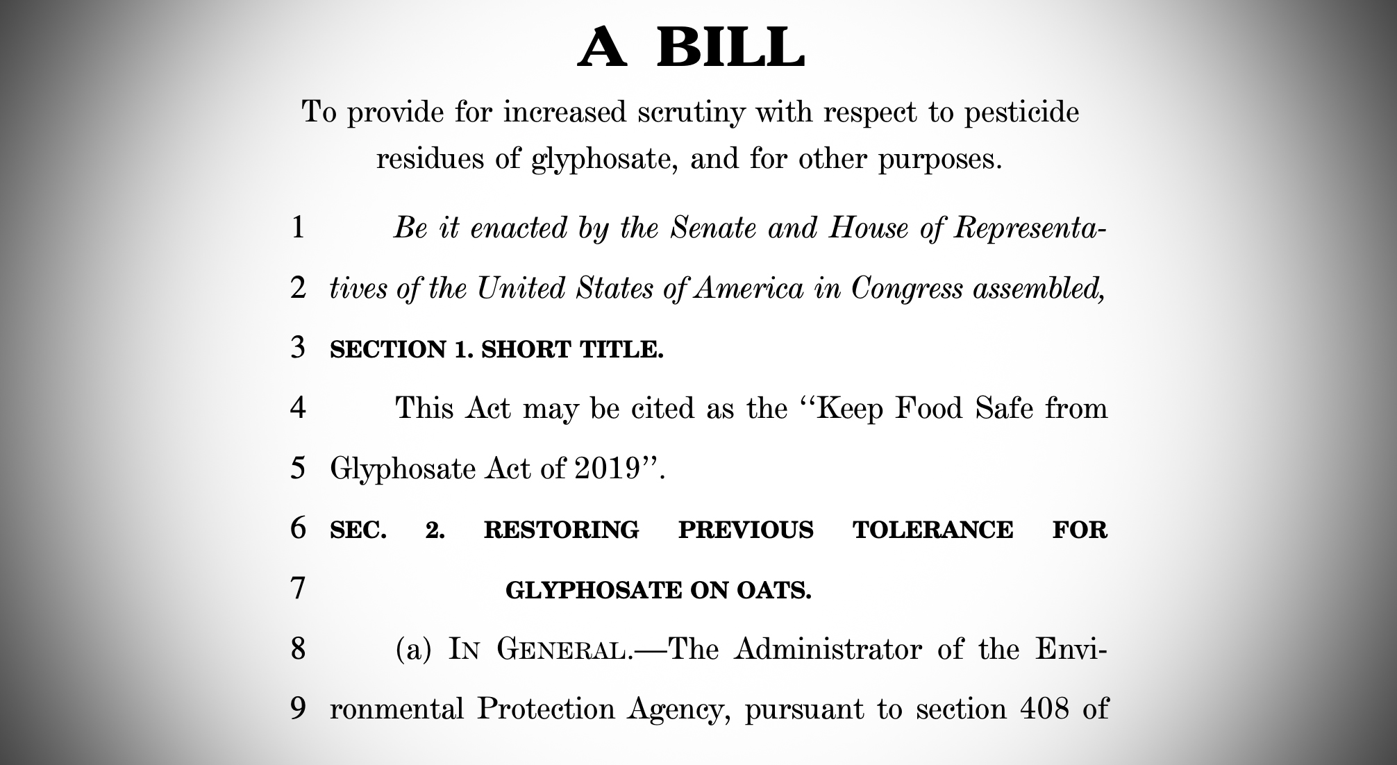 This is screenshot of the bill introduced by Rep. Rosa DeLauro.