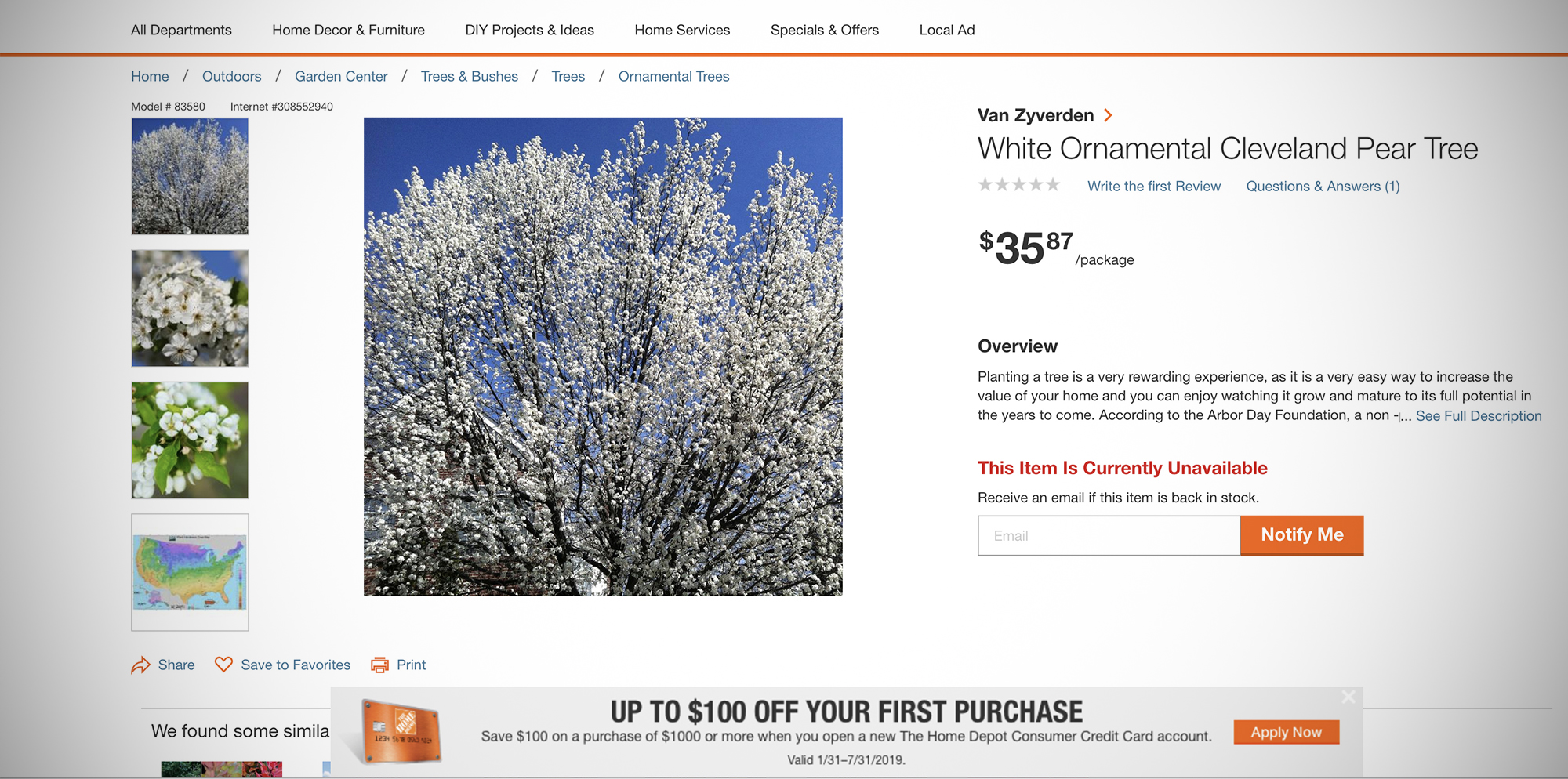 This is a screenshot of a Cleveland select tree sold on Home Depot's website.