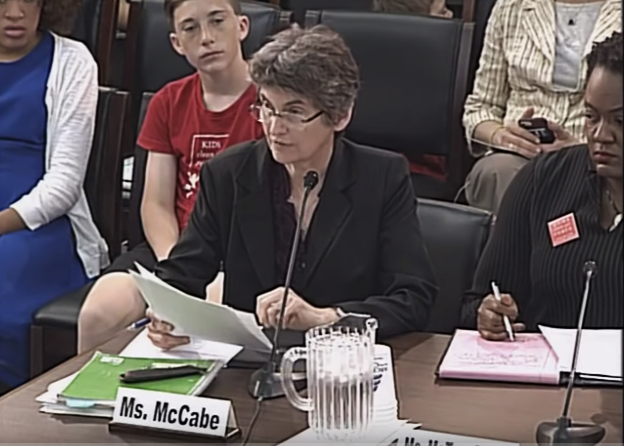 This is a picture of Indiana University professor of practice Janet McCabe, who is testifying at a Congressional hearing in Washington, D.C.