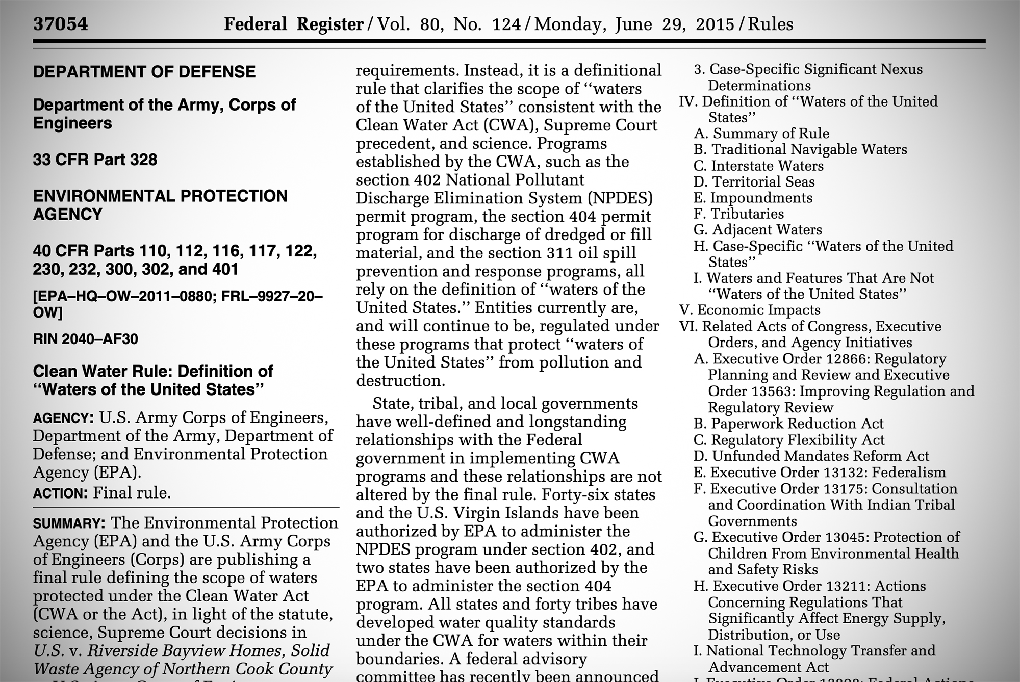This is a screen grab of the WOTUS rule published in the Federal Register.