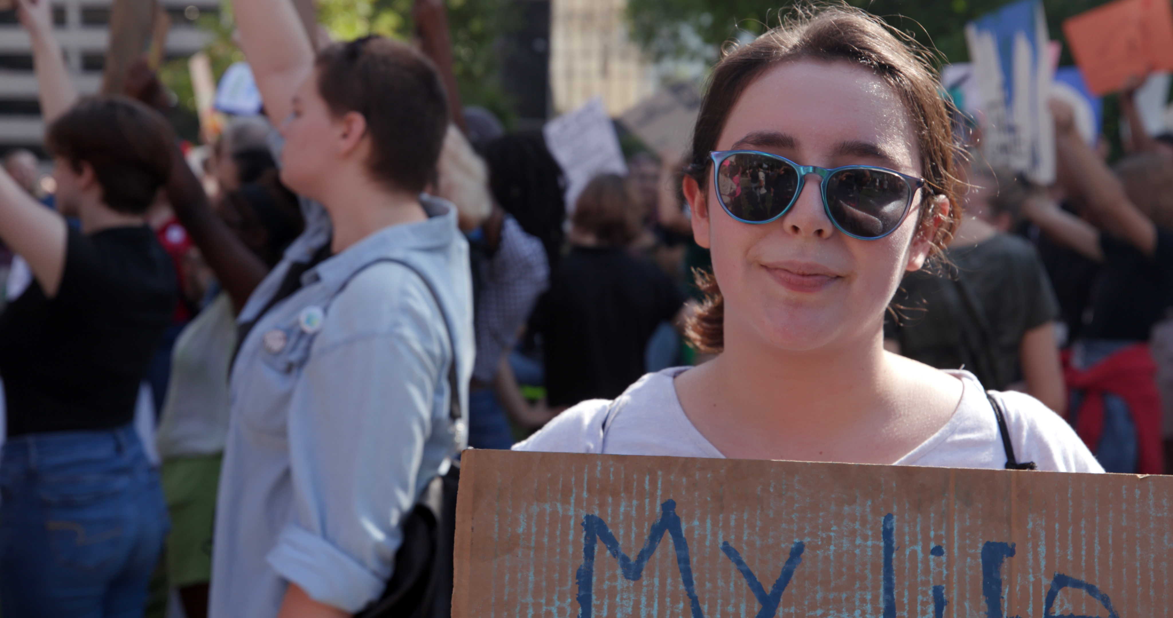 This is a photo of 19-year old Miranda Frausto, a student attending the climate strike event in Indianapolis, September 20.